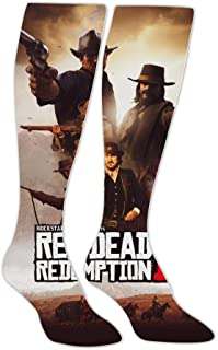 Unisex Red Dead Redem-ption 2 Gun Man 3D Printed High Knee Socks Warm Graphic Long Stockings for Men Women