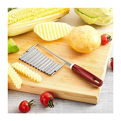 Coupe Frites Couteau ondulé coupeur ondulé couteau coupé, trancheuse en acier inoxydable - Coupe-de-pommes de terre de coupe - Couteau à hacheur ondul