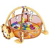 Cocoarm Baby Spielbogen Spiel Aktivität Gymnastikmatte Erlebnisdecke Krabbeldecke mit weichem Spielbogen und Schutzgitter Mesh Bunte Bälle Spielzeug (Löwe)