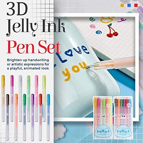 12Pcs 3D Glossy Jelly Ink Pen, bunter Kugelschreiber Liquid Gel Pens Fluoreszenzstift Wasserdicht Ausblassicher für DIY Album Card Scrapbooks Schreiben Zeichnung