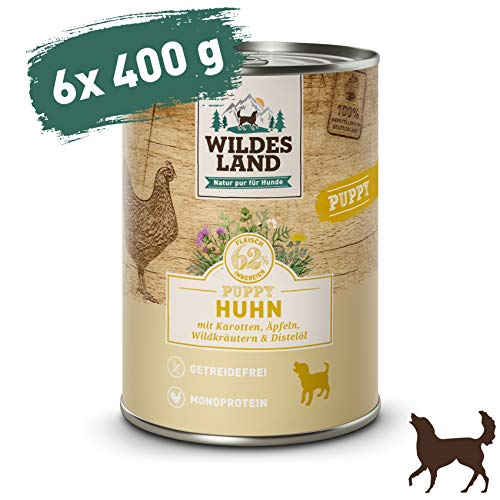 Wildes Land   Nassfutter für Hunde   Puppy Huhn   6 x 400 g   mit Karotten, Äpfeln, Wildkräutern & Distelöl   Glutenfrei   Extra viel Fleisch   Beste Akzeptanz und Verträglichkeit