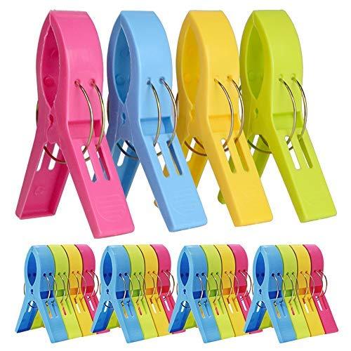 20 clips para toallas de playa, clips de plástico para silla, pinzas para colgar ropa a prueba de viento