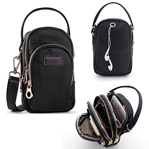 Damen Mini Schultertasche Umhängetasche, Universal Handytasche Kleine Henkeltaschen Handtaschen Crossbody Bag Nylon für Mädchen mit 3 Reißverschluss Taschen Katloo,Schwarz