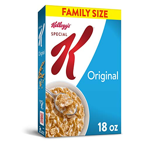 Kellogg's Special K, Breakfast Cereal, Original, Made with Folic Acid, B Vitamins, and Iron, Family Size, 18oz Box