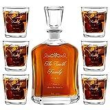 Murrano Whiskey Karaffe + 6er Whiskygläser Set mit Gravur - 700ml Whisky Dekanter - Geschenk zur Hochzeit für Paar - Familie