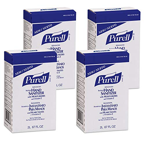 PURELL Advanced Hand Sanitizer Gel with Moisturizers and Vitamin E, 2000 mL Sanitizer Refill for PURELL NXT Push-Style Dispenser (Pack of 4) - 2256-04,Clear