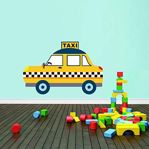 ZXFMT Muurstickers Cartoon Pizza Auto Dubbele Decker Bus Muurstickers Stad Taxi Vinyl Decal Home Decor Voor Kinderen Baby Kamer Slaapkamer Behang