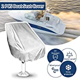 Essort 2 PCS Boat Seat Cover, Housse pour Siège Pilote, Folding Pedestal Boat Chair Cover, Waterproof Pontoon Captain Seat Chair Cover, Polyester UV Resistant, Grey, 56×61×64cm