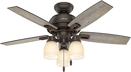 """popular Hunter Donegan Indoor Ceiling Fan with LED Lights and Pull Chain Control, outlet online sale 44"""", See sale Image outlet sale"""