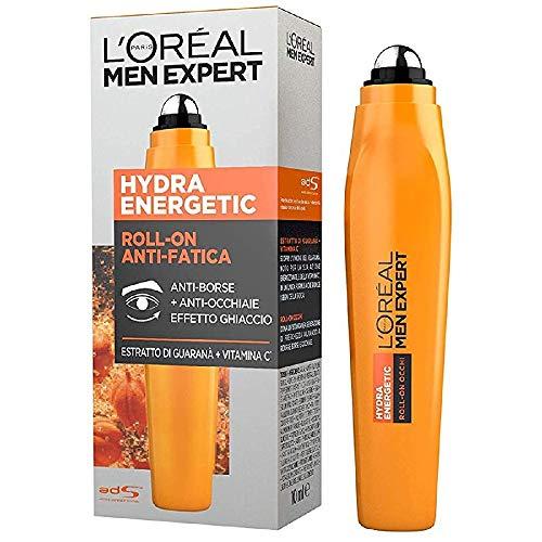 L Oréal Paris Men Expert Hydra Energetic, Roll-On Occhi Anti-Fatica, Con Estratto di Guaranà e Vitamina C, 10 ml