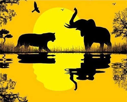 Pintura al óleo de elefante por números Kit de animales paisaje Diy pintado a mano para colorear imagen artística pintada para decoración del hogar A14 60x75cm