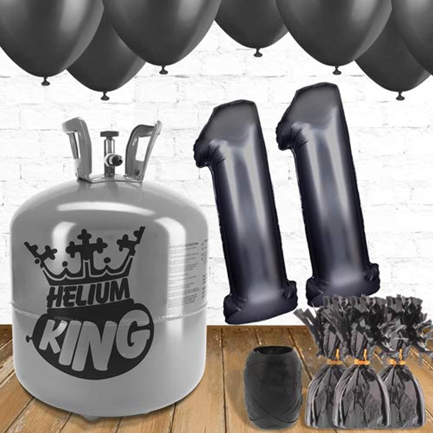 11th Birthday Black Balloons and helium gas package