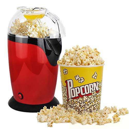 Leogreen - Elettrodomestico Per Popcorn, Macchina Per Fare Popcorn Scoppiettanti, Rosso, Dimensione: 30,5 x 17 x 16,3 cm, Capienza tazza: 60 g