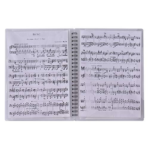 Muslady Notenhalter A4 Größe Papierbogen Dokumentenmappe Ordnungsmappe Multifunktional mit 40 Taschen weiß