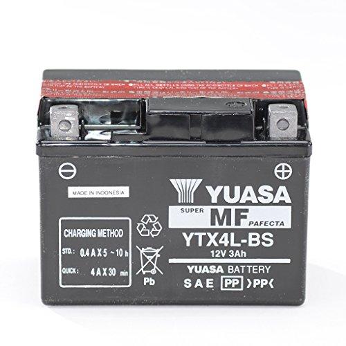 Batterie 12V 3AH YTX4L-BS, Wartungsfrei Yuasa DIN 50314 für ATV AC | ATV V | Silver Fox 50 | Thunder Bike 50 TB50 | Cobra | Minikolt | Revo Minikolt | Revo W | Amico 50 GC | Amico 50 HV