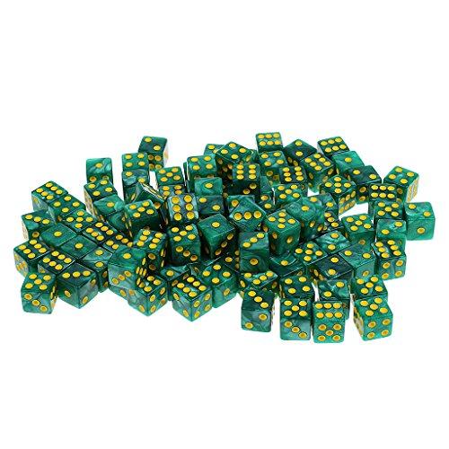 Baoblaze D6 Dados 6 Caras Puntos D6 de Acrílico 14mm (100 Pedazos) - Verde