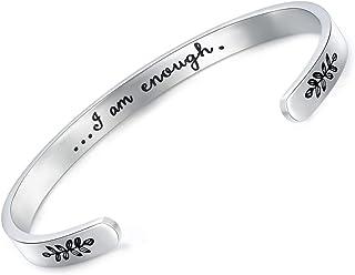 Jvvsci I Am Enough Cuff Bracelet, Inspirational Motivational Gift, I Am Strong, Be You, Friends BFF Sorority Sisters Encou...