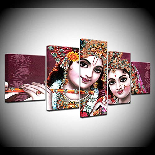 5 Canvas Wall Art Paintings Framed HD Printed Pictures for Living Room Canvas Wall Art Frame 5 Piece India God Radha Krishna Painting Home Decor Posters Artwork DDZZYY