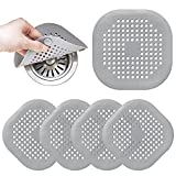 Flat Drain Hair Catcher, 5 Pack Square Silicone Drain Cover with Suction Cups, Shower Drain Filter Protection Hair Trap, Easy to Install Suitable for Bathroom Bathtub Shower Floor and Kitchen Sink