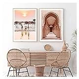 WQHLSH Marruecos Arquitectura Desierto Viajes Póster Póster Fondo Arte Impresas Lienzo Pintura para Sala de Estar Dormitorio Decoración del hogar 20x28inchx2 Sin Marco