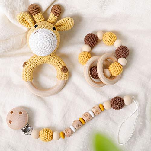 Natural Crochet Baby Teether Toy 3Pieces/Set Cute Crochet Giraffe Rattle Toy Organic Crochet Beads Teething Bracelet with Wooden Rings Silicone Beads Pacifier Clip Montessori