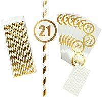 Pavilion Gift Company 12243 21歳の誕生日 - 24本パック ゴールド&ホワイトペーパーストロー スティックオン番号付き 7.5インチ ゴールド