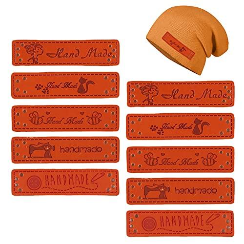 MHwan etiquetas ropa nombre, etiquetas ropa, Etiquetas hechas a mano de cuero PU con agujeros para accesorios artesanales de bricolaje, bolsos de jeans, zapatos, sombrero, 100 piezas, 1,5 x 5 cm