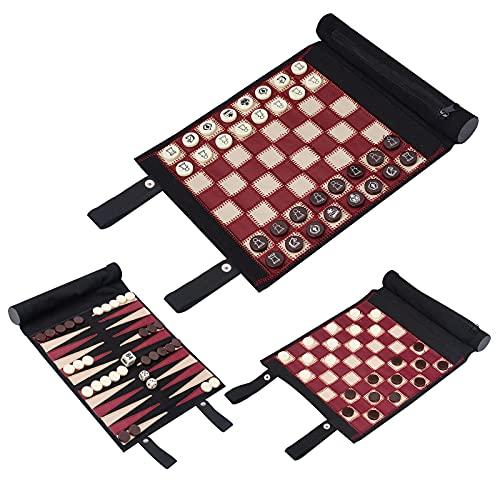 Woodronic Juego de damas de ajedrez 3 en 1, juego de viaje enrollable para adultos y niños, negro y rojo, 22,3 x 20,3 cm