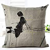 xiaoxong658 Throw Pillow Square Pillow DhK5310 Newspaper Drawing Swing Woman Throw Pillow cushion-M2211(1)_4545cm