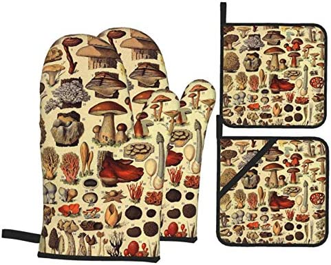 Mushroom Vintage Art Print Oven Mitts and Pot Holders Sets of 4 Resistant Hot Pads with Polyester product image