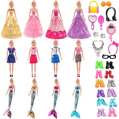 Miunana 62 Kleidung Zubehör für Puppen = 4 Kleider + 4 Abendkleider + 3 Meerjungfrau Badenanzüge + 10 Schuhe + 40 Zubehör für Barbie Puppen