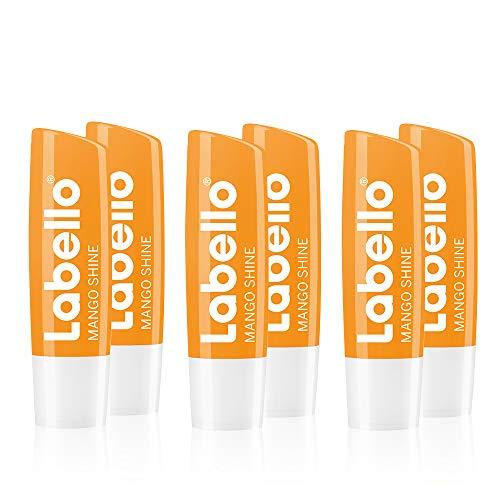 Labello Mango Shine im 6er Pack (6 x 4,8 g), Lippenpflegestift mit zartem Glanz und Schimmerpigmenten und Mangoaroma, Lippenpflege ohne Mineralöle