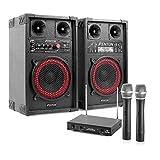 Star-Mitte Equipo de Karaoke Altavoces PA con micrófonos (400W Potencia Maxima, Reproductor MP3 Desde Puerto USB - SD, Incluye micros inalambricos con Receptor)