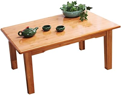 Stylish Bamboo Coffee Table Bed Small Table Kang Table Solid Wood Tatami Coffee Table Bay Window Table Home Laptop Table Durable (Color : Wood Color, Size : 60 * 40 * 35cm)