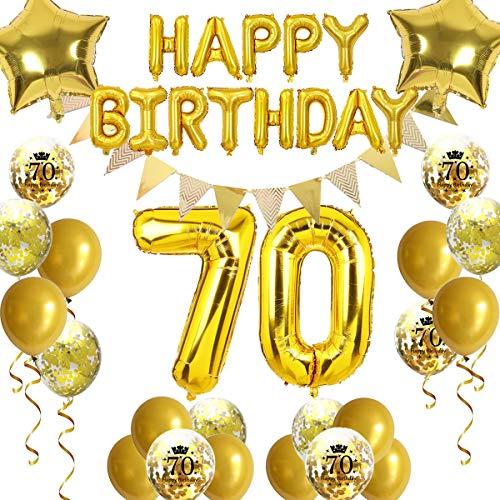 FACHY 70. Geburtstag Dekoration, Happy Birthday Ballon Wimpel Banner 70. Gold Nummer Ballone Stern Folienballons Konfetti Luftballons für 70 Jahre alt Geburtstag Dekoration