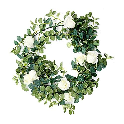 Xiaojunjia - Guirnalda de flores artificiales de eucalipto de 1,8 m, para colgar en rota vertical para jardín, plantas falsas blancas, decoración de la pared (color: blanco leche, tamaño: 2 unidades)