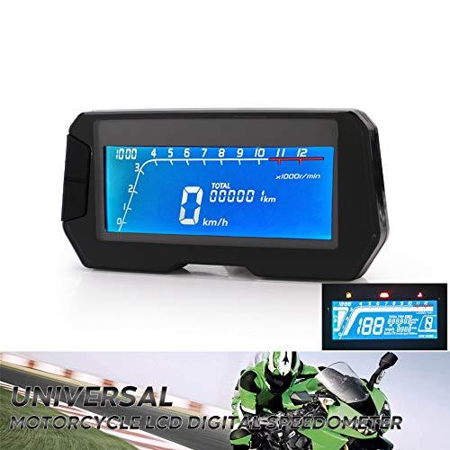 CONRAL Universal Moto LCD Digital Velocímetro Tacómetro, Motocicleta Rectangular LED Tacho Gauge, Indicador Engranaje Combustible, KMH/mph, Apto para la Motocicleta más Popular 12V