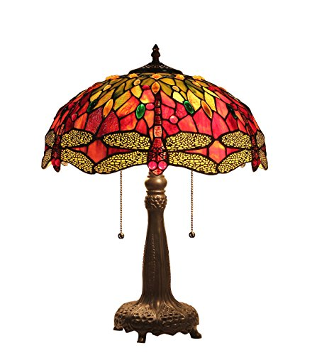 chloe lighting table lamps Chloe Lighting CH33471RD16-TL2 Empress Tiffany-Style Dragonfly 2 Light Table Lamp, 21.1 x 16.14 x 16.14