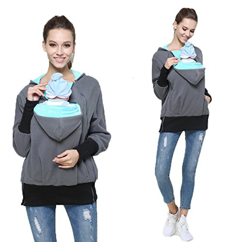 Womens Maternity Kangaroo Hooded Sweatshirt for Baby Carriers (XXL, Mint Green)