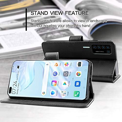 EASYCOB Hülle für Huawei P40 Pro Hülle, Premium Handyhülle Tasche Leder Flip Case Brieftasche Magnetischen Etui Schutzhülle für Huawei P40 Pro, Schwarz - 3