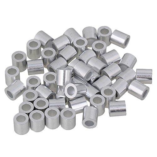 50 Stück Runde Löcher Silber M4 Aderendhülsen Welligkeit Schleifenhülse für Drahtseil 4 mm Drahtseilhülsen-Clip