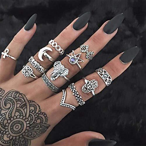 Aukmla Anillo de nudillo de Boho sistemas de plata de los anillos de dedo apilable elefante Midi Tamaño Anillos Conjuntos Accesorios de la mano de las mujeres y niñas 13PCS