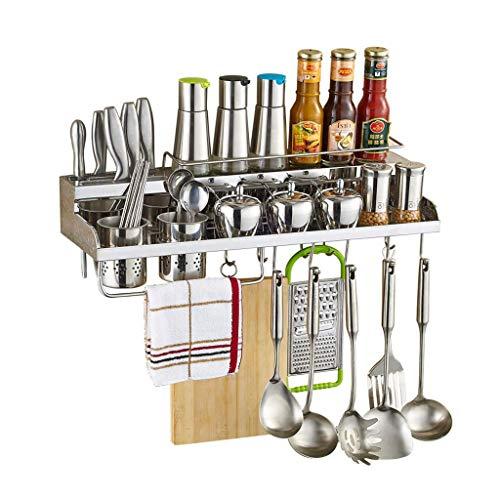 LIIYANN Racks de Cocina Home Kitchen Shelf Kitchen Steel Wall Hanging Spice Rack Spice Supplies y Accesorios Percha (Tamaño: 50 * 10 * 20 cm)
