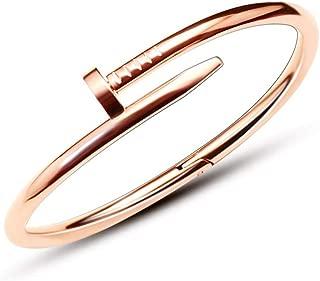 Retro Cuff Bracelet Chaîne Clou Bracelet Cuivre Bracelet strass pour femmes