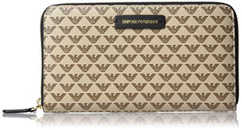 Emporio Armani Designer-Geldbörse mit Reißverschluss und Logo-Muster mit Lederdetails, (Braun/Hellbraun), Einheitsgröße