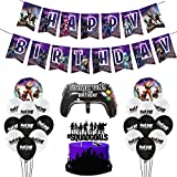 Suministros para fiestas de videojuegos, Decoraciones de fiesta de cumpleaños temáticas de juegos con Banner de fiesta de feliz cumpleaños 18 globos de látex, 3 globos de aluminio, 1 tarjeta de pastel