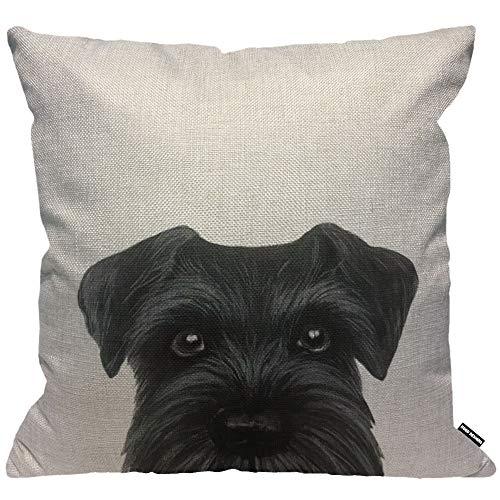 HGOD Designs Funda de cojín negra Schnauzer pintura original perro cachorro, funda de almohada decorativa para el hogar para hombres y mujeres, sala de estar, dormitorio, sofá, silla de 45 x 45 cm