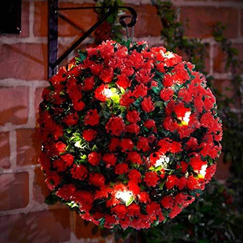 spot on dealz Solar Powered 28cm Topiary Rose Flower Ball Hanging Garden Decoration White LED Lights - RED