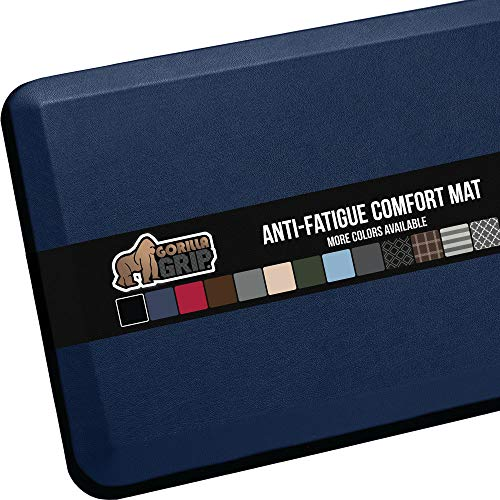Gorilla Grip Original Premium Anti-Fatigue Comfort Mat, Phthalate Free, Ergonomically Engineered, Extra Support and Thick, Kitchen, Office, Gaming Standing Desk Mats, 39x20, Navy Blue