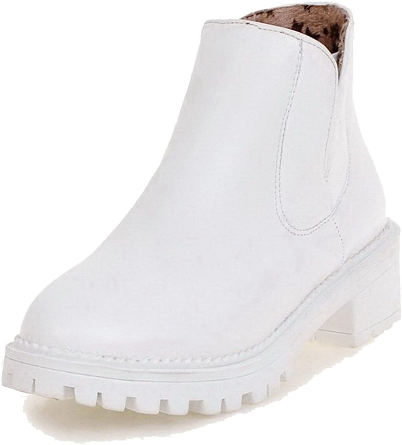 WeenFashion Women's Low-Top Pull-On Soft Material Kitten-Heels Closed Round Toe Boots